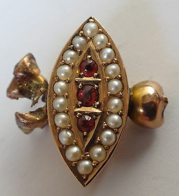 Victorian solid 9ct rose gold set ruby & seed pearl brooch remake remodel repair