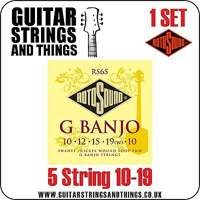 1 Set Rotosound RS65 5 String G BANJO 10-19 Nickel Wound Loop End, BANJO STRINGS