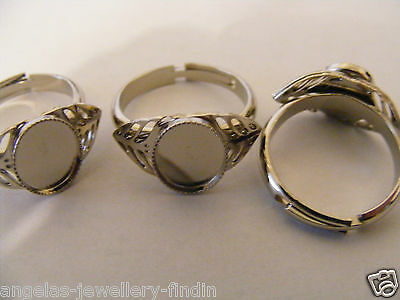 Ring Blanks for stones/cabochons 10 mm x 8 mm - 3 per Pack 16 mm adjustable ring