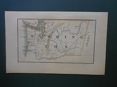 Scarce Washington State 1869 Map Hand Colored Cities Forks Rivers