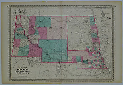 1865 Genuine Antique Map Nebraska, Dakota, Idaho, Montana & Wyoming. A J Johnson