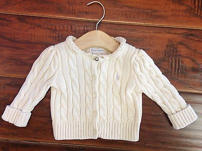 Ralph Lauren Girls Ivory Cardigan Sweater 6 Months Cable Knit