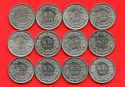 Lot of 12 Switzerland 1/2 Franc Coins 1968 - 1981