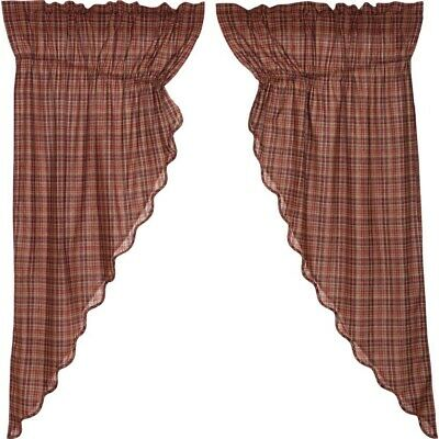 PARKER Scalloped Prairie Curtain Set Burgundy/Navy Plaid Lodge Cabin Rustic
