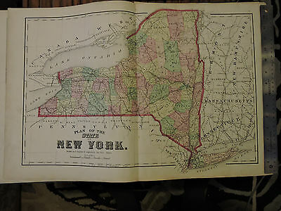 """Original1873 Beers NEW YORK STATE / Long Island  15.5"""" x 24"""" Map Exc. Condition"""