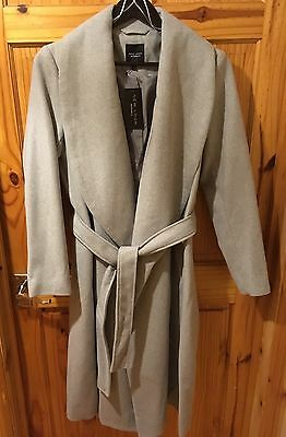 NEW LOOK MATERNITY LONG WINTER COAT WOOL MIX GREY GORGEOUS BNWT SIZE 12 Warm £40