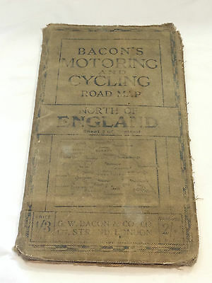 Vintage Bacons Motoring And Cycling Road Map North Of England 26 By 36 Inches