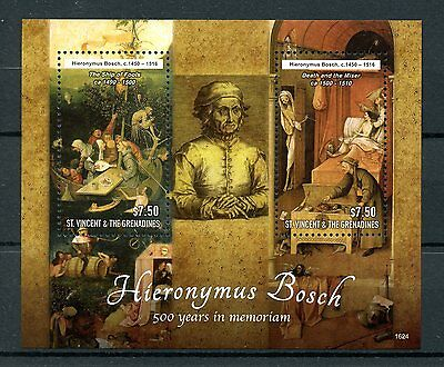 St Vincent & Grenadines 2016 MNH Hieronymus Bosch 2v S/S Art Paintings Stamps