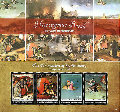 St Vincent & Grenadines 2016 MNH Hieronymus Bosch 4v M/S Art Paintings Stamps