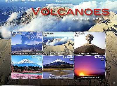 Gambia 2016 MNH Volcanoes of World 6v M/S Krakatoa Mount Fuji Landscapes Stamps