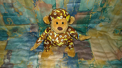 "Webkinz Bananas monkey plush stuffed animal w/ sealed secret code 8.5"" EUC"