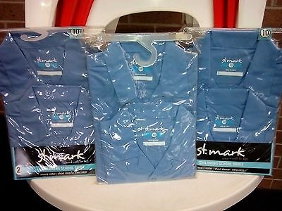 Boys School Shirt - 3 x pack of 2 Blue Shirt SHORT Sleeve Size 10