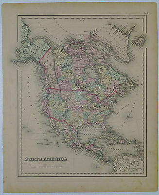 1855 Genuine Antique map of North America. Hand colored. Colton