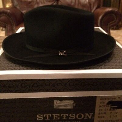 "Stetson ""stratoliner"" Royal Stetson Black Size 6 7/8 Great Color Fedora!"