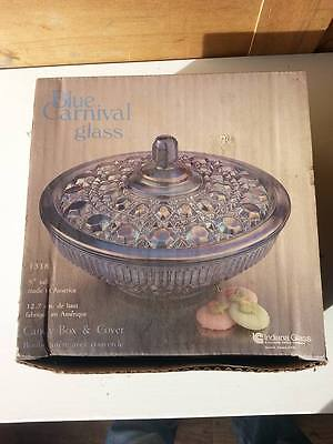 Indiana Glass Co. Blue Carnival Glass Candy Box & Cover