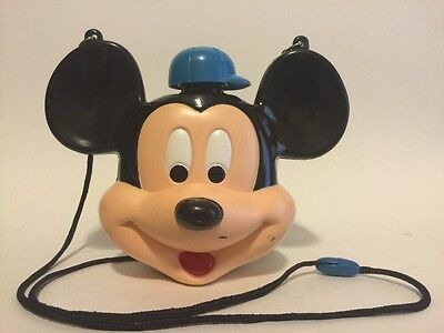 Vintage Disney Mickey Mouse Head Plastic Canteen Flask With Shoulder Strap