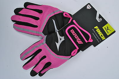 NEW Mizuno Finch Women's Fastpitch Softball Batting Gloves - Black/Pink - Medium