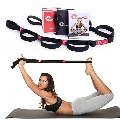 Premium Stretching Strap with Loops by Yoga EVO + eBook & 35 Online Video Band,