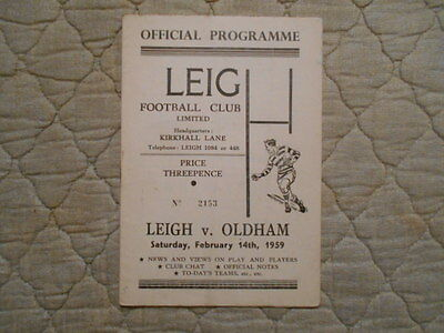 Leigh V Oldham Rugby League Match Programme 1959