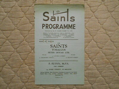 St Helens V Leigh Rugby League Match Programme 1953
