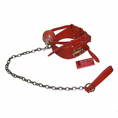 TheSexShopOnline - Bondage Red Neck Collar With Rubber Ball And Leash Restraint