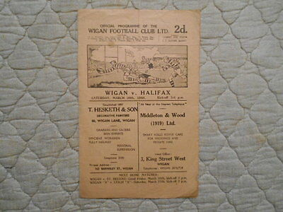 Wigan V Halifax Rugby League Match Programme 1948