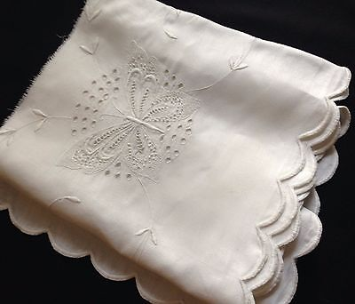 Antique Butterfly Hand Padded Embroidery Buttonhole Stitch Hem Panel Salvage