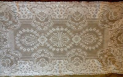 Antique White Lace Runner Exceptional Victorian Floral Design, Greek Key
