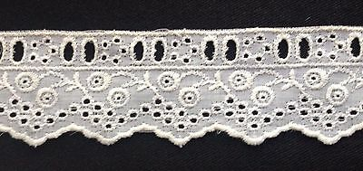 Lovely True Vintage Eye-let White Lace Trim Edging, Insert 5 yards Long, 1 3/4""