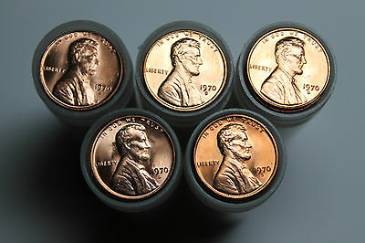 Lot of 5 1970 S BU Lincoln cent rolls
