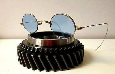 Antique Blue SPA Sunglasses Spectacles Vtg Old Steampunk