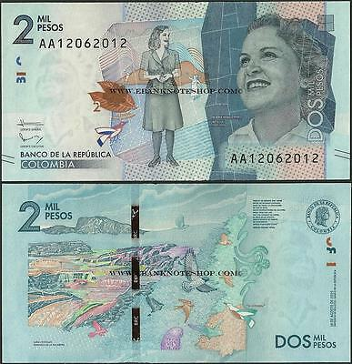 Colombia,2000 Pesos,2016,Uncirculated,beautiful note