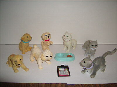 Barbie Doll Cat & Dog Pets Miniatures Lot of 7 Bobble Heads