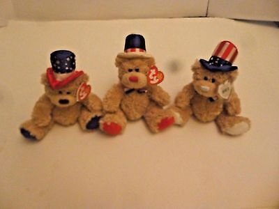 TY BEANIE BABY ~INDEPENDENCE (Red White & Blue) ~ 3 Plush Bears ~ 2006 MINT+TAGS