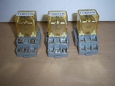 Lot of 3 IDEC RH3B-U AC120V Electromechanical Relay + SH3B-05 10A 300V Module