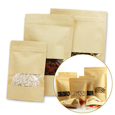 10pcs Zipper Kraft Paper Bags Window Self Sealing Envelope Party Favor Gift Bags