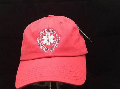 NEW Embroidered EMT Emergency Medical Tech Star Of Life Magenta Pink Hat Cap