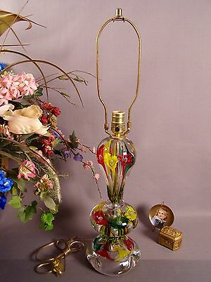 Mid Century Gibson Art Glass Red/Yellow/Green Paperweight Table Lamp 1989