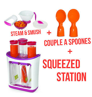 Infantino Squeeze Station + Couple A Spoons + Steam and Smush Baby Food NEW