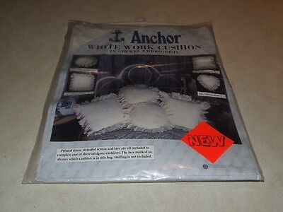Anchor White Work Cushion in Crewel Embroidery - New