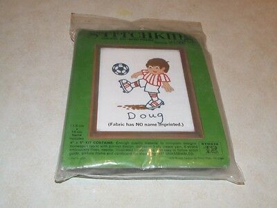 Stitchkins Crewel Kit with Frame - Soccer 1783 - New