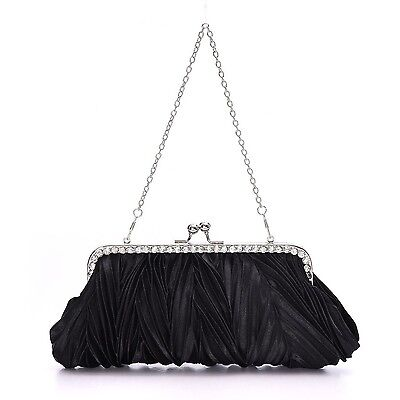 Womens Evening Bag for Wedding Party Satin Pleated Cocktail Handbag Black