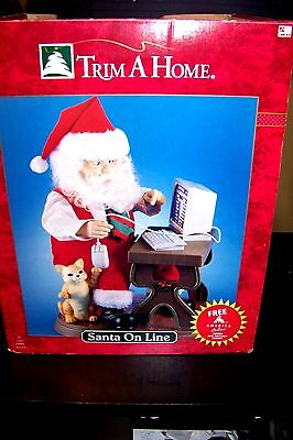 Rare Trim A Home On-Line Animated Christmas SANTA ON LINE AOL computer CAT & box