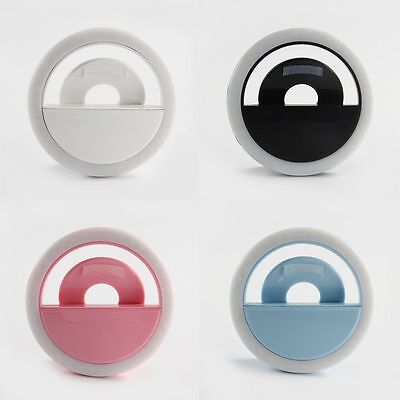 Rechargeable Selfie Portable LED Ring Fill Light Camera for iPhone Android Lot H