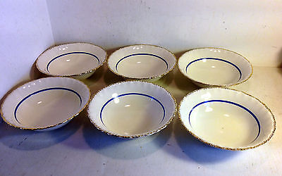 6 Soup/Salad Bowls Grindley England, Conway 1, 1936-54, Cream, Blue Band (4646)