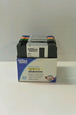 Office Depot Diskettes Rainbow 23 Pack 2HD 1.44 MB IBM Formatted 3.5""