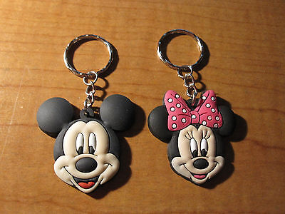 (2) MICKEY & MINNIE MOUSE Keychains Key Chain PVC Rubber FOB with Metal Ring