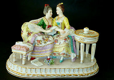 "Vintage CAPODIMONTE Hand ptd ""SISTERS"" porcelain FIGURINE FRENCH COURT STYLE"