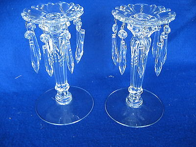 """Beautiful Pair of Heisey Candlestick with Prisms 8 1/4"""" Tall"""