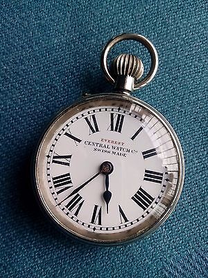 Everest Central Pocket watch Swiss made porcelain dial Nickel body